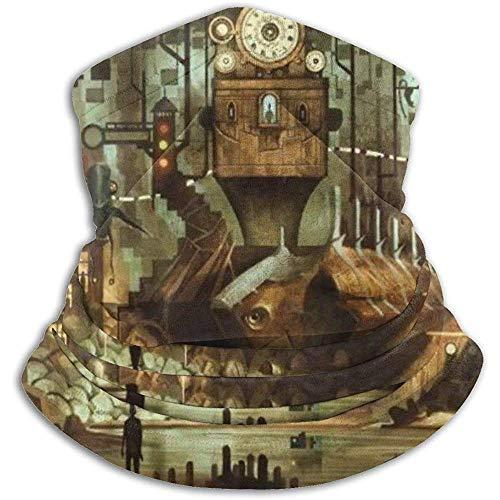 Bklzzjc Science Fiction Maschinen Uhr Steampunk Stahl Industrial City Fleece Halswärmer Gesichtswärmer Halsrohr Halsmanschetten