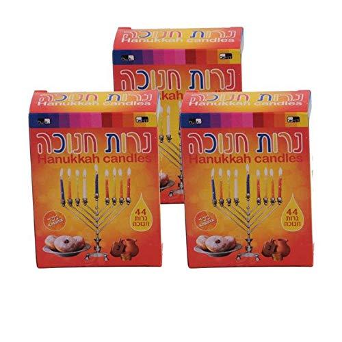 DAN Value Pack 3 Boxes of 44 Multi Colored Hanukkah Candles Made to Fit Most Standard Chanukkah Menorahs