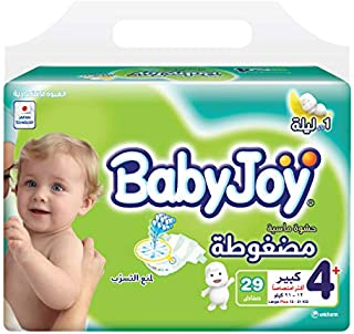 BabyJoy Compressed Diamond Pad, Size 4+, Large+, 12-21 kg, Value Pack, 29 Diapers