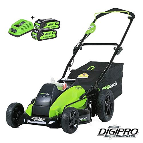 Greenworks Tools 40V 45cm accu grasmaaier borstelloze motor Gereedschap + 2 accu's 2 Ah + oplader. 45 cm groen