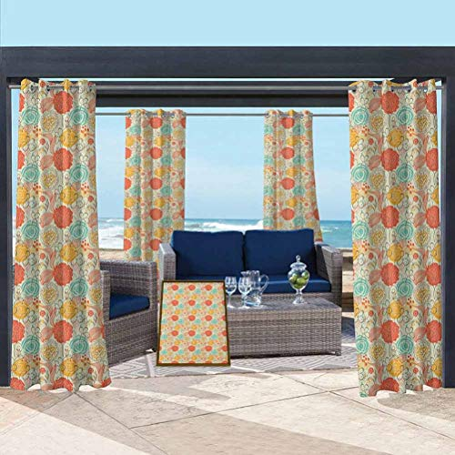 ParadiseDecor Vintage Blackout Curtains Protect You from Sun/Rain Cheerful Gardening Plants Pattern in Doodle Art Style Retro Romantic Composition Multicolor 84W x 63L Inch
