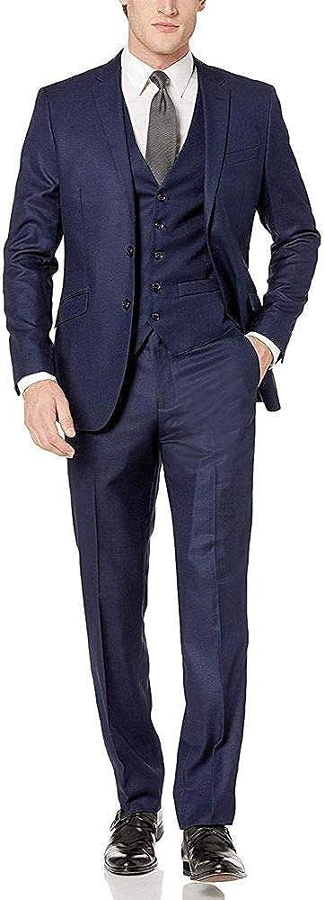 Movie Clothiers Men's Slim Fit 3-Piece Notch Lapel Linen Feel Suit