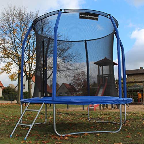 Gartentrampolin Ø 244 cm, Trampolin-Set: Sprungmatte, Sicherheitsnetz mit bogenförmigen Netzpfosten, gepolstert und Leiter