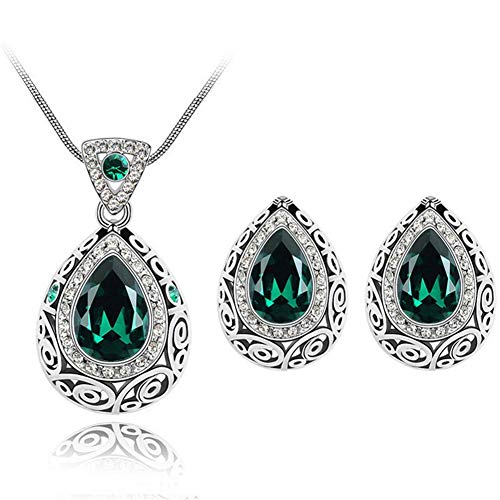 Fashion Waterdrop Crystal Jewelry Set, AILUOR Retro Vintage Celtic Knot Waterdrop Green Gemstone Water Drop Pendant Necklace Stud Earrings Jewelry Set for Women Mother Bridal Wedding (Green)