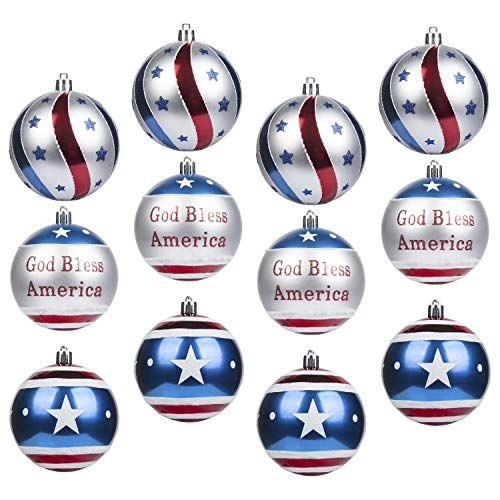 KI Store Patriotic Ball Ornaments 12pcs Large Christmas Tree Balls American Flag Decorations for Christmas Party Bonus 6 United States Flag