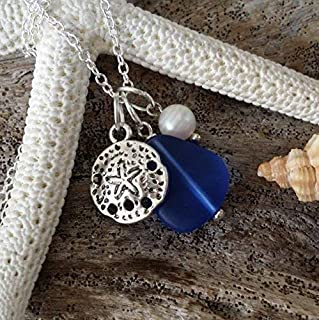 product image for September Birthstone, Cobalt Sapphire blue sea glass necklace,sand dollar charm, Freshwater pearl, (Hawaii Gift Wrapped, Customizable Gift Message)
