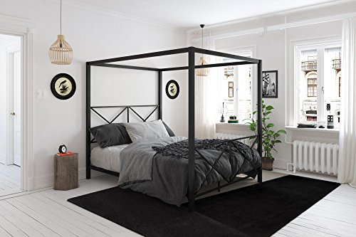 DHP Rosedale Metal 4 Poster Canopy Bed with Crisscross Headboard and Footboard - Queen (Black)