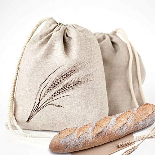 Sacchetti per il pane in lino - Confezione da 4 sacchetti riutilizzabili con cordoncino,ideali per conservazione degli alimenti domestici, inaugurazione della casa,regalo di nozze,30x40 cm 4 stili