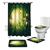 ZSDFPW 3D Gedruckter Duschvorhang Grün-gelber Dschungel-Kronleuchter Duschvorhang gesetzt Polyester für Badezimmer wasserabweisend & Anti-Schimmel waschbare Badematte 150×180 cm