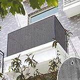 HoneybeeLY Balkon-Sichtschutz mit Ösen und Kordel – Windschutz   Garten-Paravent für UV-, Sonnen- und Windschutz   PVC Outdoor Sichtschutz   grau – 90 x 500 cm