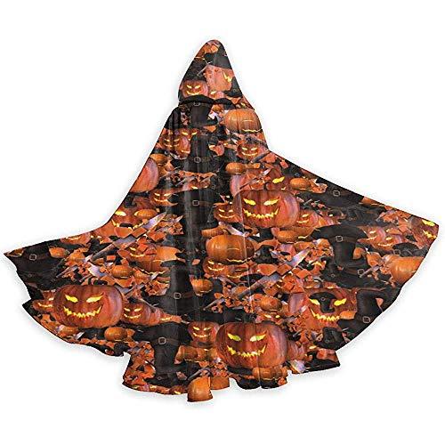 Joyeux Halloween sorcière Chapeau citrouille Unisexe Capuche Cape Longue Cape avec Capuche Halloween Noël Cosplay Party Costumes Noir