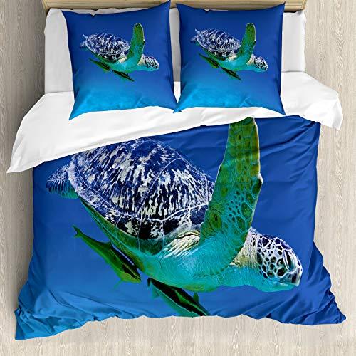 ABAKUHAUS Wasser Bettwäsche Set für Doppelbetten, Tropen Schildkröte Aquarium, Weicher Microfaserstoff Allegigeignet kein Verblassen, Violettblau Farngrün