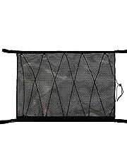 Samochodowa sieć do przechowywania sufitu SUV kieszeń siatkowa z ulepszonym podwójnym zamkiem błyskawicznym - zapobiegający opadaniu konstrukcji do umieszczenia kołdry, jasnych przedmiotów, rozmaitości (czarne)