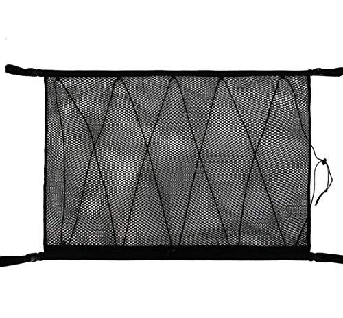 Red de almacenamiento de techo de coche SUV con doble cabeza Upgrad, diseño de cremallera para evitar caídas para poner colcha, artículos ligeros, artículos de ensueño (negro)