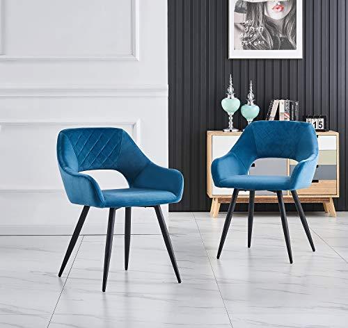 JYMTOM Samt-Esszimmerstuhl mit Stoffbezug, gepolstert, für Lounge, Wohnzimmer, mit Metallbeinen, Armlehnen, Rückenlehne (Blaugrün, 4 Stück)