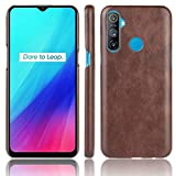 JIANGNIUS Mobile Phone Case for Oppo Realme C3 (3 Cameras) Shockproof Litchi Texture PC + PU Case(Black) (Color : Brown)