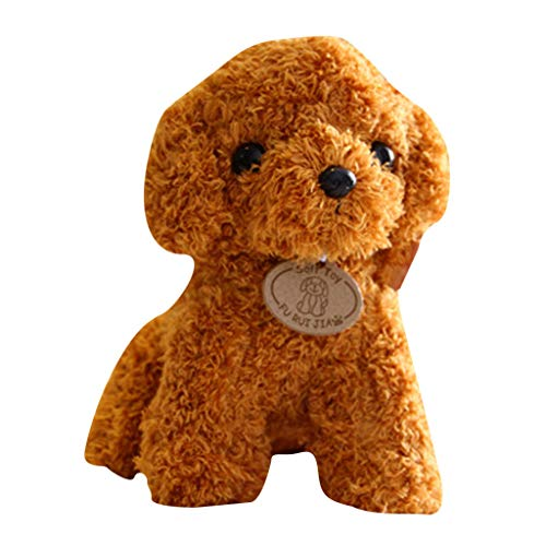 Realistic Teddy Dog Lucky Newest Handmade Stuffed Pet Toy, Plush Stuffed Animal Puppy for Kids (Brown-G)