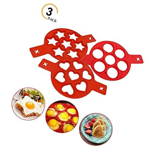 3 moldes de silicona antiadherentes redondos para hornear y corazón y estrellas, para magdalenas o tortitas, molde para panqueques, herramienta de cocina para freír magdalenas y panqueques.