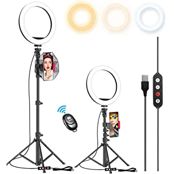 """10.2"""" Selfie Ring Light with 65"""" Adjustable Tripod Stand & Phone Holder for Live Stream/Makeup, Upgraded Dimmable LED Ringlight for Tiktok/YouTube/Zoom/Photography, Compatible with iPhone & Android"""