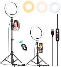 """$22 » 10.2"""" Selfie Ring Light with 65"""" Adjustable Tripod Stand & Phone Holder for Live Stream/Makeup, Upgraded Dimmable LED Ring..."""