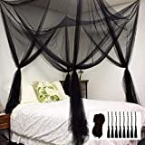 Mosquito NET for Bed Canopy, Four Corner Post Curtains Bed Canopy Elegant Mosquito Net Set, Stick Hook &Profession Rope for net, Screen Netting Canopy Curtains, Full/Queen/King/Black