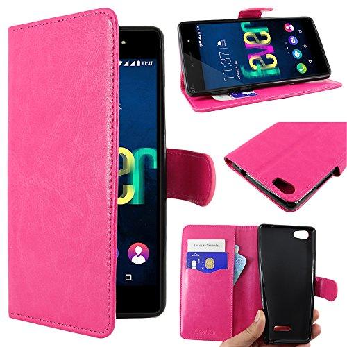 ebestStar - kompatibel mit Wiko Fever SE Hülle Special Edition Kunstleder Wallet Hülle Handyhülle [PU Leder], Kartenfächern, Standfunktion, Pink [Phone: 149.5 x 73.9 x 9.1mm, 5.2'']