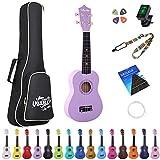 Amdini 21 inch Soprano Ukulele Basswood Acoustic Mini Guitar for Beginner Kid Starter with Case Strap Tuner Picks Strings Primary Tutorial