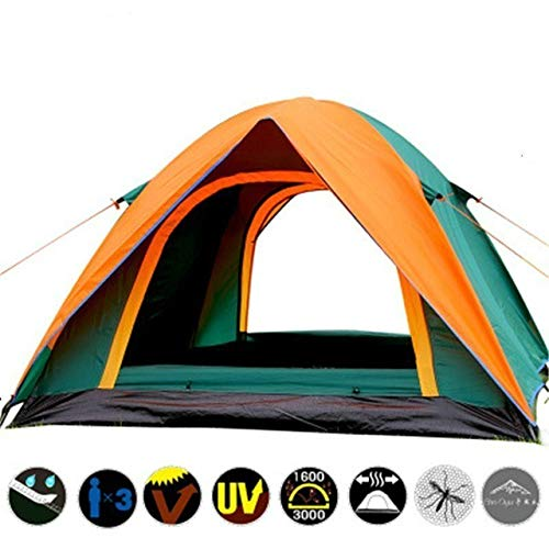 Mdsfe Waterproof Camping Hiking Fishing Tent Separated Dual Layer Travel Tent 4 Season Anti UV Beach Tent for 3-4 Person Family - Green and Orange, a1