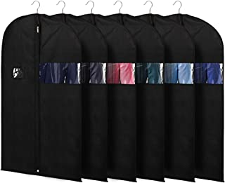 KEEGH Suit Bags Garment Cover Bag for Storage and Travel 40 Inch (Set of 6) Protect Dress Shirts Coats with Zipper and Transparent Window