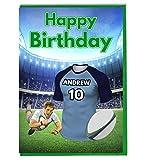 Maillot de rugby carte d'anniversaire–Le Waratahs Couleurs–personnalisé avec un nom et numéro