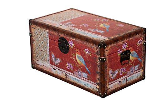 Sarah B Truhe Kiste KD 1515 Deko Truhe Vogel Holztruhe Schatzkiste,Kiste, Piratenkiste, Holz, Größe XL 49cm x 28cm x 25cm