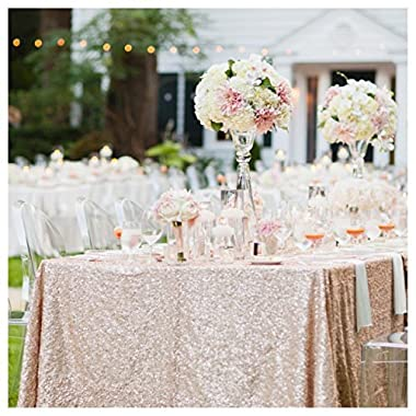 ShinyBeauty Sequin Tablecloths Rectangle Blush Champagne-8Ft 90 X156