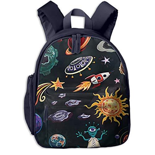 Mochilas Infantiles, Bolsa Mochila Niño Mochila Bebe Guarderia Mochila Escolar con Planetas espaciales de la Nave Espacial para Niños De 3 A 6 Años De Edad