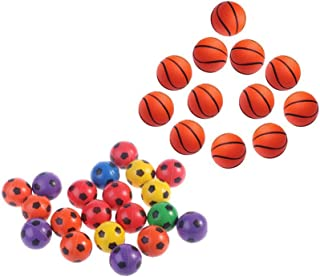 Lsmaa Neon Bright Bouncy Sports Themed Rubber Jumping Ball Toy Kids Favor School Game Prizes Party Favor and Gifts 24 Pcs ...