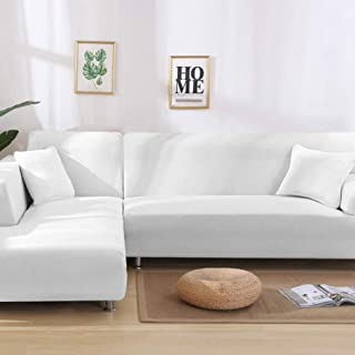 BERTERI White Sofa Covers for Corner Sofa Elastic Stretch Couch Slipcovers for L Shaped Sofa Living Room Sectional Sofa Protector
