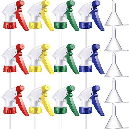 12 Rociador de Gatillo Colorido Boquilla de Botella de Niebla Reemplazo Superior de Botella de Spray y 5 Embudos Transparentes para Botellas Estándar Ajustadas de Cuello 28/400, 4 Colores