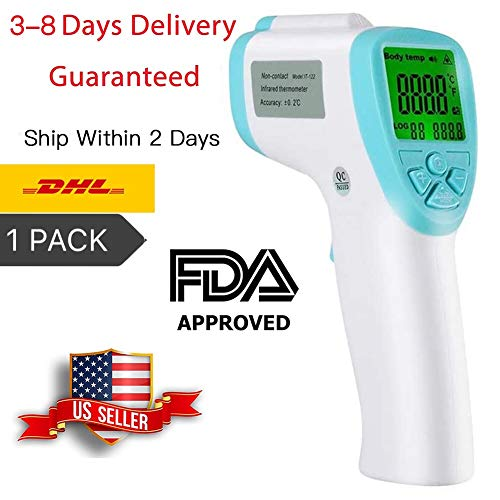 1PCS Fever Alarm and Memory Function, Non-Contact Accurate Temperature Gun with LCD Display, Infrared Forehead Thermometer for Adults and Kids (Transit time: 3-8Days)