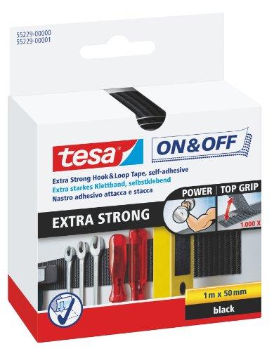 tesa On und Off Extrastarkes Klettband - Selbstklebende Klettstreifen zum Befestigen schwerer Gegenstände, extra stark - 100 cm x 5 cm