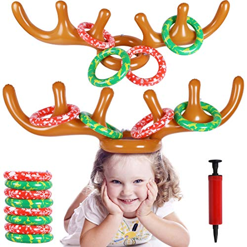 MGparty Christmas Inflatable Reindeer Antler Toss Game for Xmas Kids Teens Party Favors Supplies Outdoor Indoor Ring Toss Game