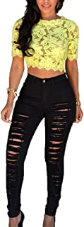 Bestwo Women's Distressed Jeans High Waist Ripped Pencil Skinny Legging Jeans
