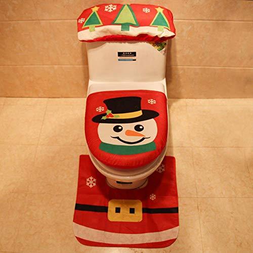 VHJ Santa Claus Snowman Toilet Three-Piece Set Home Holiday Decoration Bathroom Hristmas Hat,red xue ren
