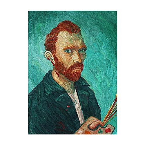 XNHXPH Carteles e Impresiones de Van Gogh Selfie Abstracto por teléfono Lienzo Vintage Arte de la Pared Pintura Famosa para la Sala de Estar Decoración del hogar Imágenes 50x70cmx1 Sin Marco