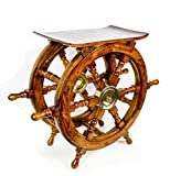 Nagina International Wooden Ship Wheel Home Decor Table | Pirate's Antique Brass Hub Motiff (24 Inches)