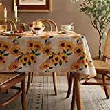 Joyfol Day Sunflower Tablecloth,Orange Floral Table Cloth for Square Tables,Waterproof Resistant Durable Flower Table Cover for Kitchen Dining Room (54 X 54 INCH)