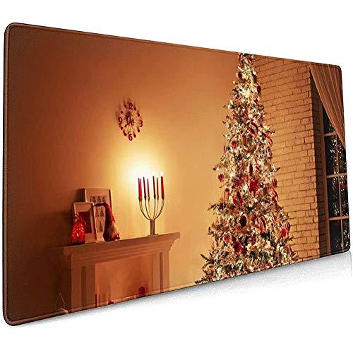 Weihnachtsbaum EIN Kamin Mauspad mit genähter Kante für Computer Laptop Büro und Zuhause One Size