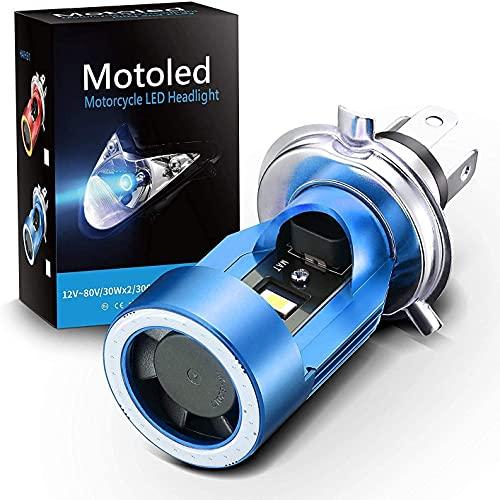 SUPAREE Ampoule H4 LED avec Yeux d'ange, Phare HS1 6400LM DC 12V pour Moto, Bleu, Pack de 1