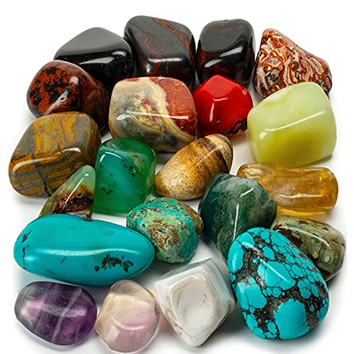 KALIFANO Bulk Tumbled Stones (1,000+ Carats) Random Assortment of Polished High Energy Reiki Crystals (May Include Blackstone, Turquoise, Fluorite etc.) - Piedras Caidas with Healing Properties