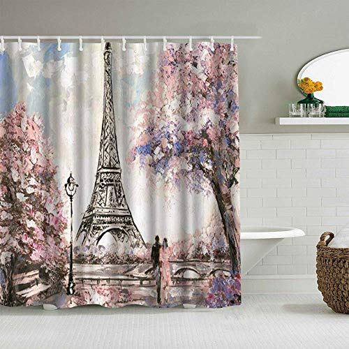 N\A Cortina de Ducha Pintura al óleo Francia París Torre Eiffel Paisaje de la Ciudad Europea Amante romántico Forros de baño Impermeables Hooks incluidos - Ideas Decorativas de baño