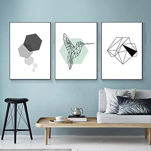 Minimalisme Art Geometry specht Vogel Canvas Schilderij, Poster Abstract Muurfoto Print Woonkamer Home Decor 50x70cmx3 geen Frame