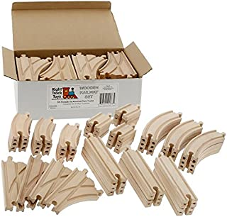 Wooden Train Track 52 Piece Set - 18 Feet Of Track Expansion And 5 Distinct Pieces - 100% Compatible with All Major Brands...